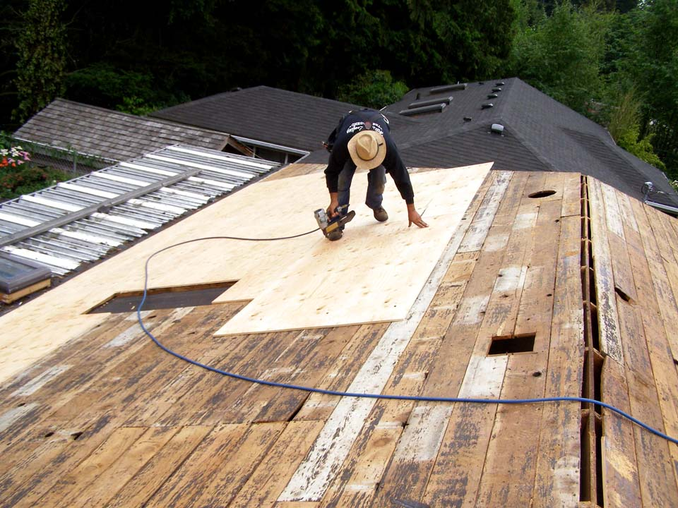 Hillside roofing gallery quality roofing for Roof sheathing material
