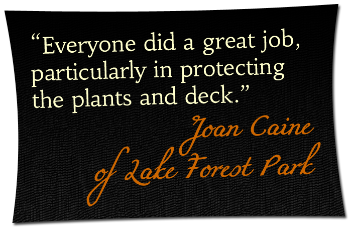 'Everyone did a great job, particularly in protecting the plants and deck.' - Joan Caine of Lake Forest Park